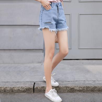 蘇醒的樂園時尚牛仔褲子女裝2019新款夏季韓版潮破洞搭配下裝淺色短款直筒褲SXDKl9036