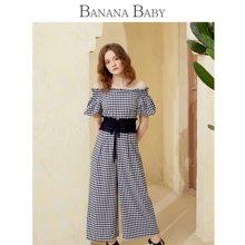 BANANA BABY2018夏季新款格纹一字肩短袖九分阔腿裤高腰连体裤女D82I687