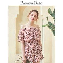 BANANA BABY2018夏季新款日系甜美一字领碎花雪纺高腰连体短裤女D82I726