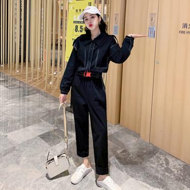meyou 休闲连体裤女春秋新款韩版宽?#27801;?#34966;工装连衣阔腿裤