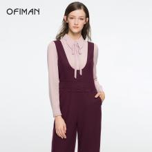 Ofiman奥菲曼2019春季新品背带裤酒红色羊毛时尚显瘦直筒连体裤女C5-S8011-1L
