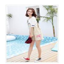 修允菲2019夏季新款韩版宽松粉红豹刺绣学院风牛仔背带短裤女B1866
