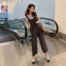 DOWISI2019新款ins的背带裤女潮高腰显瘦百搭九分连体阔腿裤(白色衫是均码)F5872