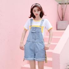 搭歌夏季韓版新款寬松無彈卷邊飄帶牛仔背帶短褲女裝連體褲 B1861
