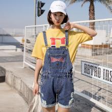 搭歌夏季新款韓版牛仔背帶短褲森女系刺繡破洞翻邊寬松女裝連體褲 B1863