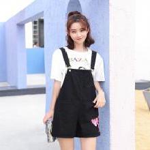 搭歌夏季新款韓版寬松粉紅豹刺繡學院風牛仔背帶短褲女裝連體褲 B1866