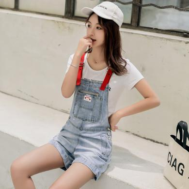 搭歌2019夏季新款韓版減齡白色T恤上衣+背帶牛仔短褲兩件套裝女裝連體褲 B2436