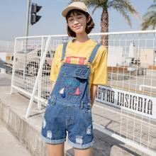 搭歌夏季韓版新款字母刺繡流蘇卷邊磨破牛仔背帶短褲女裝連體褲 B1862