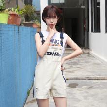 搭歌新款韩版破洞宽松牛仔背带短裤女装连体裤 B1864