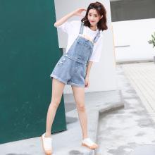 搭歌夏季韩版新款宽松简约水洗百搭牛仔背带短裤女装连体裤 B1859
