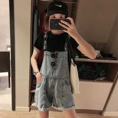 搭歌夏季新款寬松休閑字母學生背帶褲牛仔短褲女裝連體褲 B2827