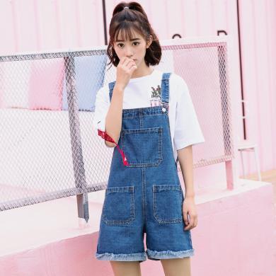 搭歌夏季韓版新款寬松休閑簡約闊腿翻邊流蘇牛仔背帶短褲女裝連體褲 B1865