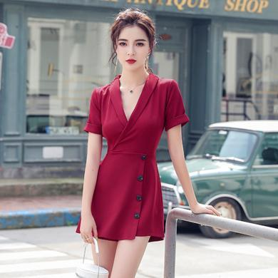 meyou 夏季新款時尚氣質西裝領短袖連衣褲收腰顯瘦單排扣連體褲裙女