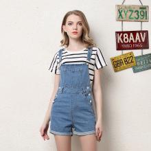 NewmanCity2019夏季歐美風女裝牛仔背帶短褲BDAI02