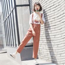NewmanCity2019新款破洞牛仔背帶褲女夏吊帶褲寬松直筒BDAI15