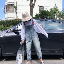 NewmanCity牛仔背帶褲女2019春夏新款韓版寬松學生BDAI16