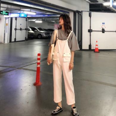 NewmanCity2019夏季新款韓版純色寬松減齡百搭高腰牛仔背帶褲BDAI28