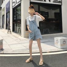 NewmanCity新款夏季女淺色破洞牛仔背帶褲寬松韓版BDAI20