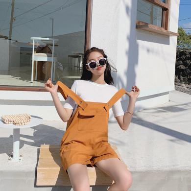 NewmanCity2019夏季新款韓版短款背帶闊腿褲子學生寬松休閑百搭BDAI26