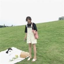 NewmanCity牛仔背帶褲女2019夏季新款寬松學生百搭連體短褲熱褲潮BDAI14