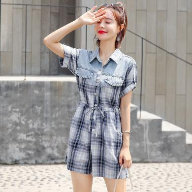 薇語馨夏季新品女裝韓版格紋修身顯瘦連體褲Y708-603