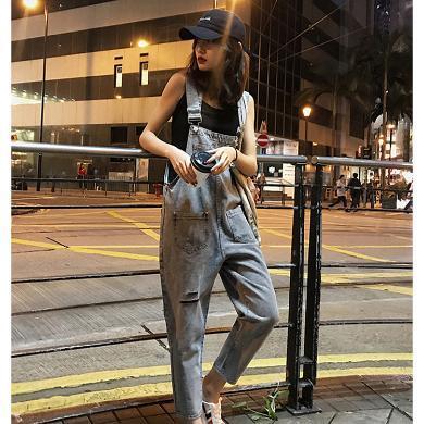 CAVS破洞牛仔背帶褲女夏韓國復古簡約高腰直筒九分褲慵懶寬松連體長褲HDC097