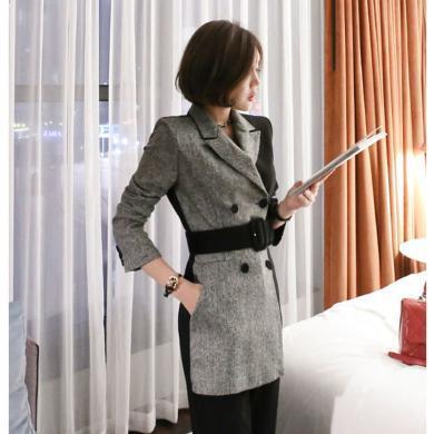 綺娑 OL職業裝秋季穿搭新款西裝連體褲時尚拼接西服收腰系帶連體衣