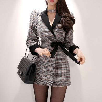 億族 秋冬裝新款韓版修身呢子連體褲女時尚修身西裝款連衣褲裙