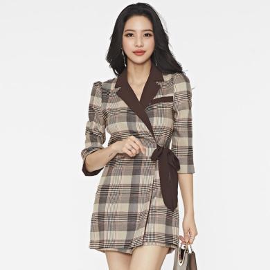 億族 秋冬裝新款時尚格子連體褲裙女韓版氣質西裝領短款連衣褲