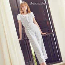 BANANA BABY2018夏新款韩版条纹背带裤女高腰连体裤九分裤女直筒D82I988