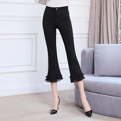 亿族 夏季新款喇叭裤女韩版高腰修身雪纺拼接七分黑色微喇裤女
