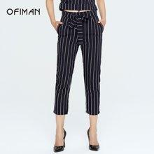 Ofiman奥菲曼女装夏装新款深蓝色竖条纹时尚休闲九分裤小脚裤子C1-S7759-DT