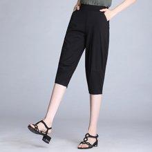 亿族 夏季新款弹力显瘦黑色灯笼裤薄款七分哈伦裤女短裤