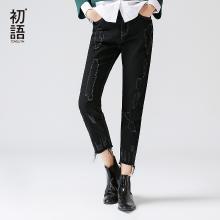 初语女装新款黑色做旧牛仔裤子猫须直筒裤宽松九分裤8741815008