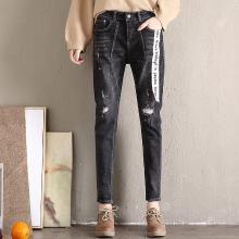 姝奕实拍新款破洞牛仔裤女黑色显瘦学生哈伦裤宽松九分裤长裤XYNZ1233