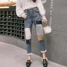 亿族 九分牛仔裤女秋冬装新款韩版高腰显瘦拼接毛边裤脚直筒裤