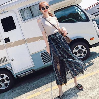 CAVS夏季女裝新款三亞海邊度假旅游必備復古港味民族風闊腿褲兩件套裝HDC004