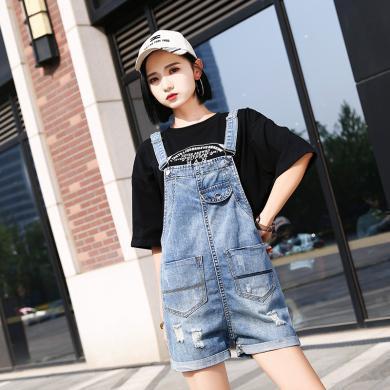 搭歌夏季新款牛仔背帶短褲女裝卷邊寬松破洞短褲學生韓 HL3201