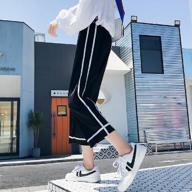NewmanCity2019韓版秋季新款休閑褲 寬松學生闊腿褲大碼九分褲QIBI12