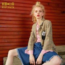 妖精的口袋 少女哲学家 秋季宽松趣味织带西装短外套