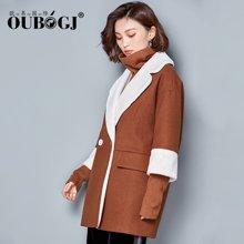 OUBOGJ 新款女装韩版中长款呢子大衣拼接毛呢外套小个子17D23023
