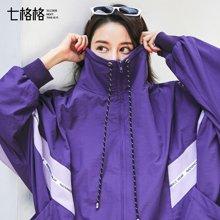 新品 七格格 紫色外套女春秋季装2018新款韩版宽松学生嘻哈棒球服夏季薄款短款