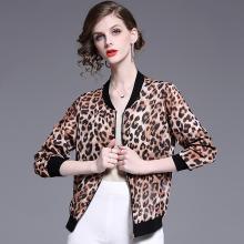 法米姿 2019新款春夏女装个性潮流立领显瘦豹纹雪纺开衫棒球服薄款小外套  59146