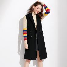 熤笙靘 2018秋季新款英伦女装织带西装领纯色羊毛女式马甲开衫无袖外套女  88343