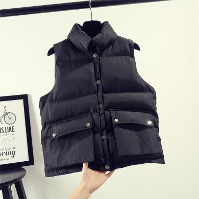 億族 秋冬裝新款羽絨棉馬甲女韓版短款無袖背心坎肩學生面包服外套