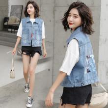 妙芙琳 韩版女装百搭短款无袖印花牛仔马甲女坎肩马夹上衣外套