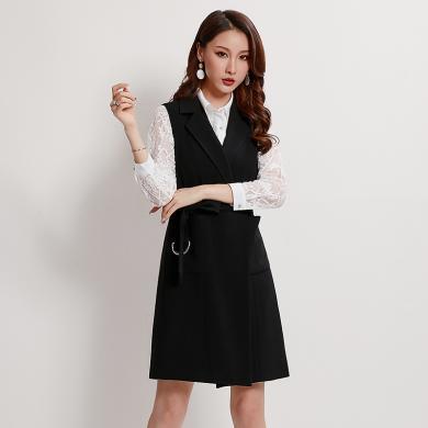 熤笙靘 棉馬甲女2019秋裝新款韓版女裝輕熟純色西裝領氣質系帶梭織背心女   89248