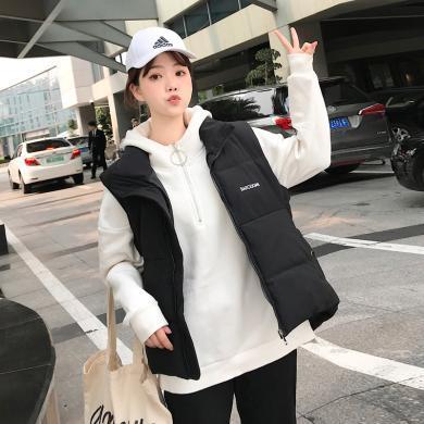 億族 棉馬甲女秋冬裝新款韓版加厚立領背心棉服外套時尚馬夾潮
