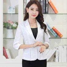 亿族 春夏装新款修身棉麻休闲七分袖韩版女装小西装短款外套
