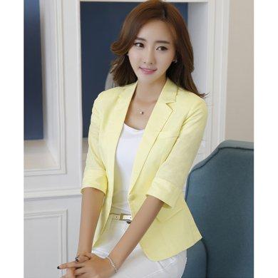 億族 春夏裝新款韓版職業亞麻小西裝薄款七分袖修身棉麻女裝小西裝外套
